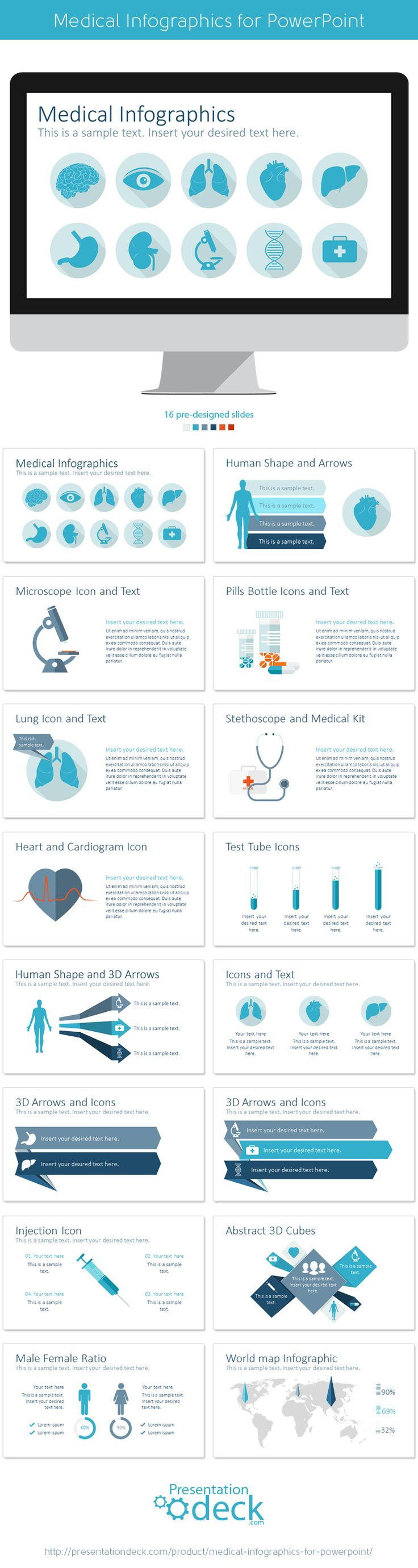 Medical Infographics for PowerPoint with 16 pre-designed slides.