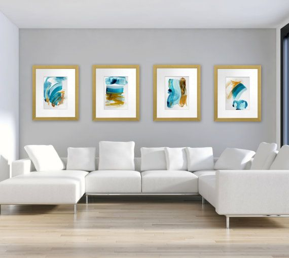 """Four abstract ocean inspired digital download prints, """"High Tide 1-4"""" by Jessica Torrant. Contemporary beach home decor."""