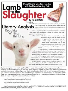 best lamb to the slaughter images lambs  lamb to the slaughter short story dahl lit analysis real world