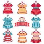 Картинки по запросу набор детских платьев вектор