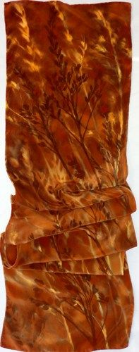 silk scarf Chocolate Fall Weeds long large crepe unique