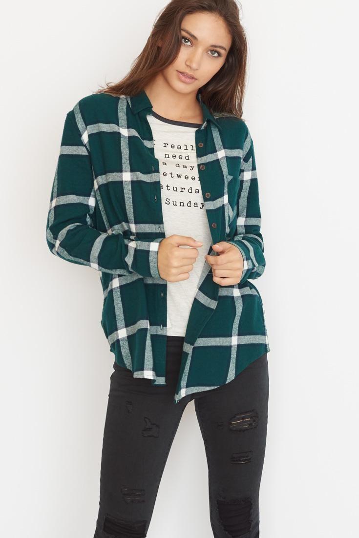 The Boyfriend Flannel Plaid Shirt.