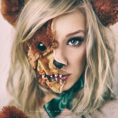 Seriously creepy zombie teddy bear makeup