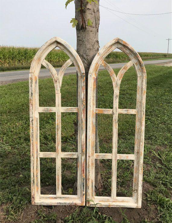 Gothic Decor Window Pair Arched Farmhouse Window Frames Wood