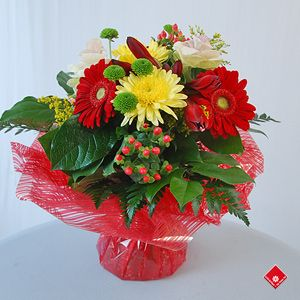 Water Bouquet featuring Gerbera, Rose and Chrysanthemum