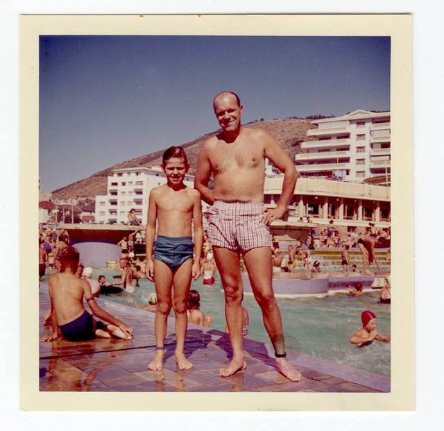 Father and son, Sea Point Pavilion, c.1960