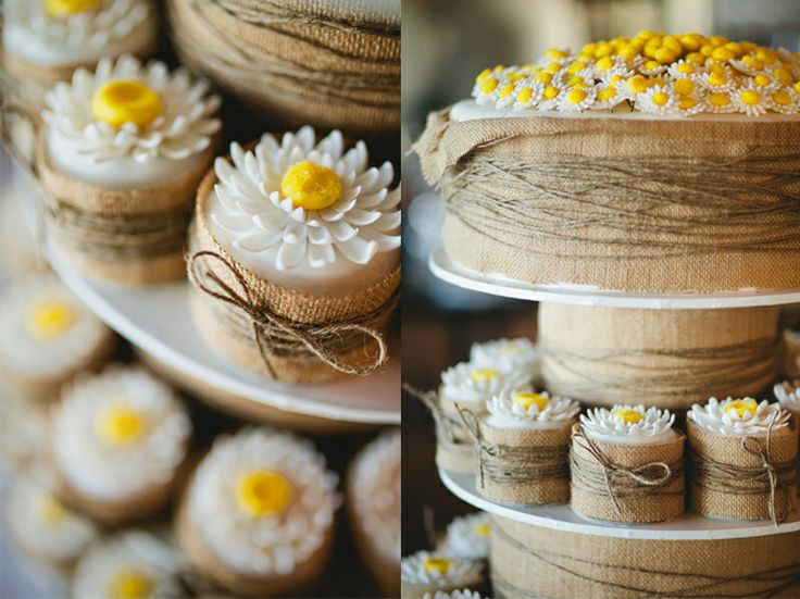 Daisy and hessian red velvet wedding cake