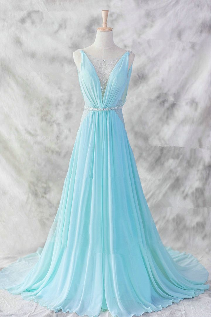 Light Blue Chiffon Prom Dress 2016, #prom, #promdresses, #promdresses2016