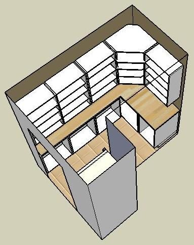 Like this with shallow shelves at top and larger one on the bottom...usually heavier things are larger!