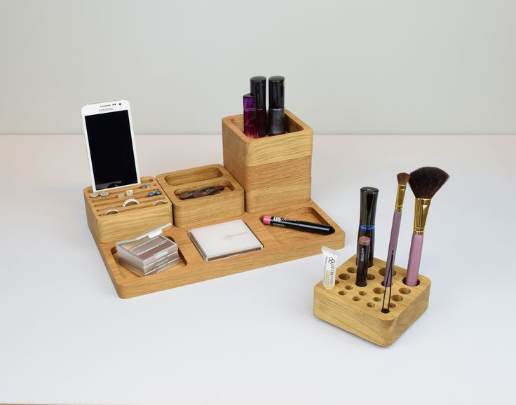 Large Beauty Station, Jewelry Storage, Makeup Brush Holder, Dressing Table Organiser, Earring Display, Trinket Dish, Oak Stacking Organizer | Beam Designs