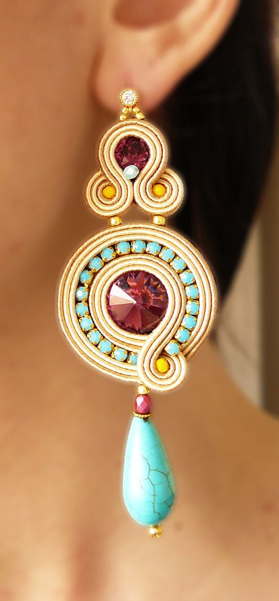 Soutache Earrings, Handmade Earrings, Hand Embroidered, Soutache Jewelry, Handmade from Italy, OOAK --------------------------------------- Earrings