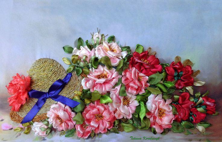 """Weiteres - Stickerei """"Rose"""", Seidenbandstickerei , Bild passe - ein Designerstück von SilkRibbonEmbroidery bei DaWanda"""