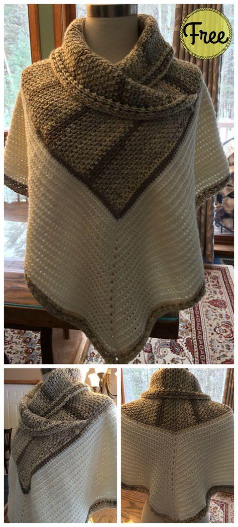 White Russian Poncho Free Crochet Pattern