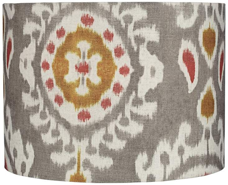 Paisley Batik Gray and Red Drum Lamp Shade 15x15x11 (Spider) - #16E97   Lamps Plus