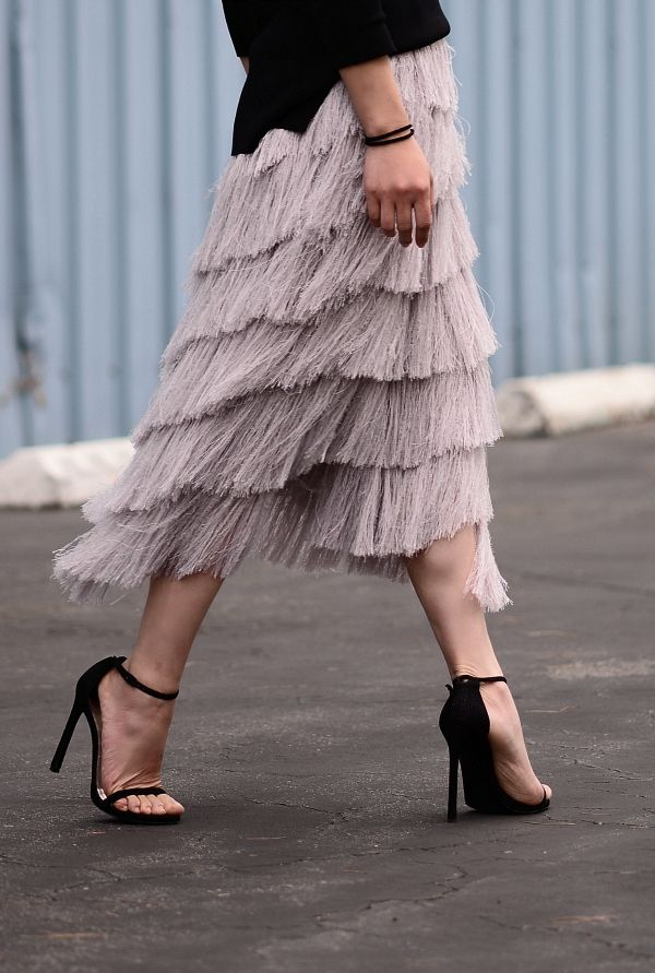 HallieDaily: High Street Favorite-Zara Off-The-Shoulder Top,HM Fringe Skirt, Stuart Weitzman Nudist Sandals