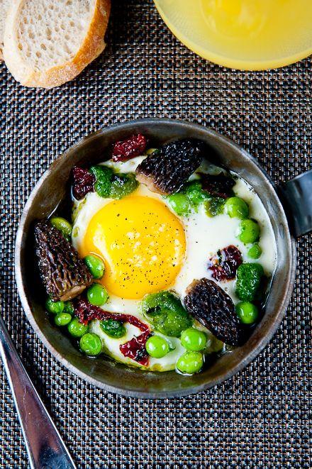 Fresh Farm Egg with Morel Mushrooms,  Crème Fraiche, Basil Purée & Peas