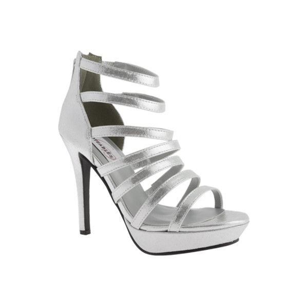 Women's Dyeables Lola ($63) ❤ liked on Polyvore featuring shoes, sandals, dresses, silver, strappy shoes, bridal sandals, white bridal sandals, white bridal shoes, high heel platform sandals and white sandals