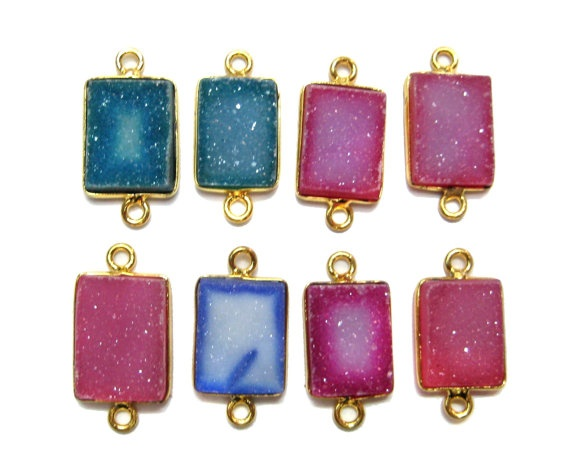 24 kt Gold Plated Druzy Bezel Connectors findings  by finegemstone, $44.00