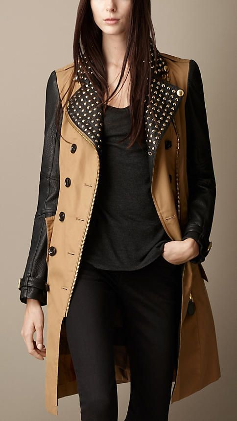 Studded Leather Biker Trench Coat | Burberry
