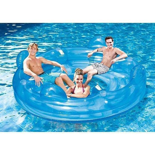 4 Person Lake Inflatable Raft River Pool Party Beach Floating Lounge Chair