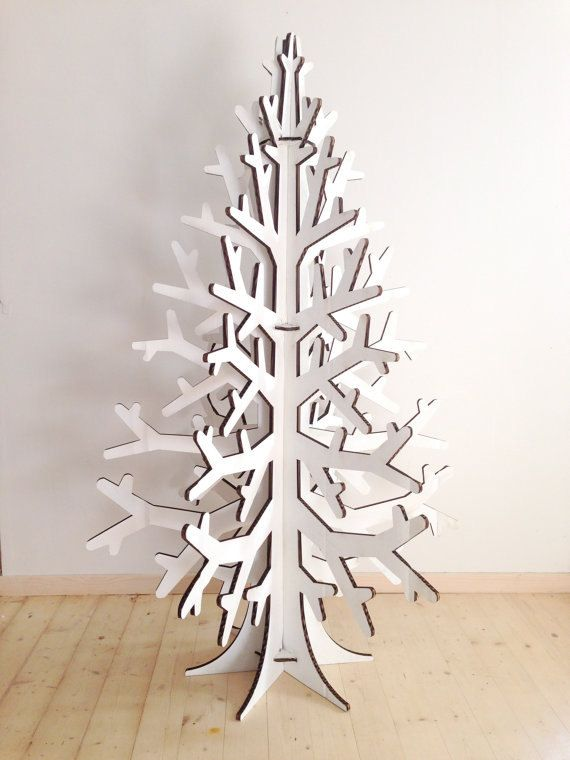 White colored recycled cardboard christmas tree holiday decoration L size on Etsy, $160.27