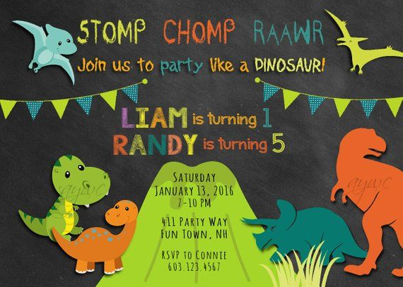 celebrations occasions printable personalised boy birthday invitation dinosaurs chalkboard background home furniture diy itkart org