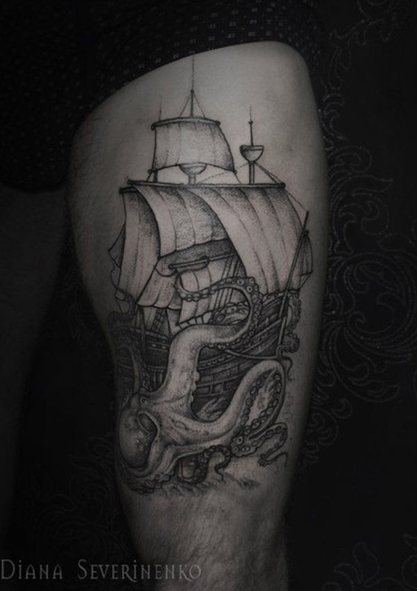 Thigh octopus with boat tattoo - 55 Awesome Octopus Tattoo Designs  <3 !