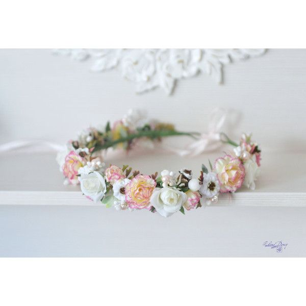 Peach pink Carnation wedding flower crown white roses hair wreath... ($37) ❤ liked on Polyvore featuring accessories, hair accessories, rose flower crown, floral crown, floral garland, bridal flower crown and white garland