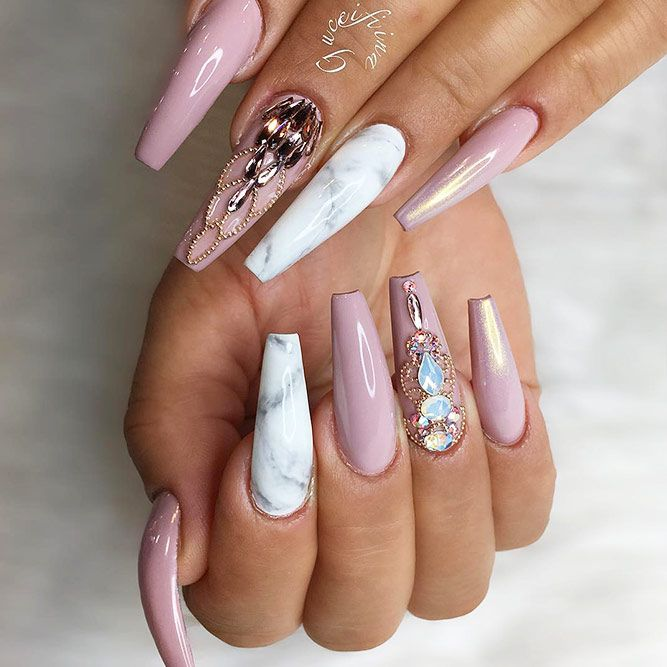 30 Ideas With Long Nails For Different Shapes White Acrylic Nails Cute Acrylic Nail Designs Cute Acrylic Nails