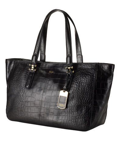 LAUREN RALPH LAUREN Croc-Embossed Leather Tote Bag