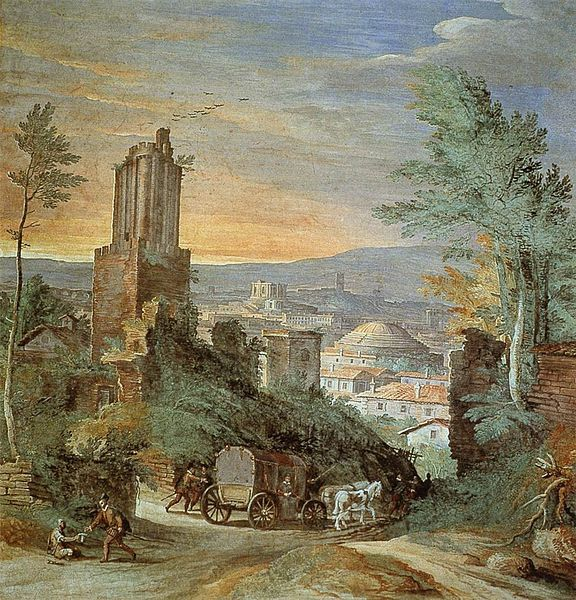 Paul Bril (circa 1553/1554–1626) Landscape with Roman Ruins Tower of the winds Date	circa 1580 Medium	fresco Torre dei Venti, Vatican City, Rome