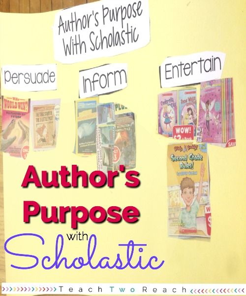 Teach Author's Purpose by using Scholastic book flyers. Cut book covers that correspond with each purpose. Freebie included