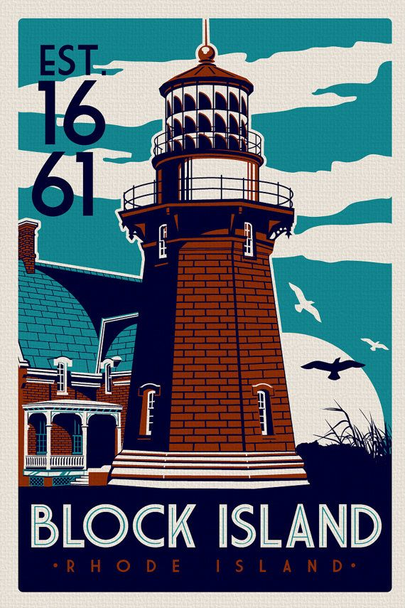 "this is 100% original artwork Block Island Southeast Light House Retro Vintage beach Screen Print poster Rhode Island hand screen printed 3 color design. ARTWORK SIZE IS 12""X18"" PRINTED ON VANILLA HEAVY COLD PRESSED ARTBOARD (VERY THICK) $24.99"