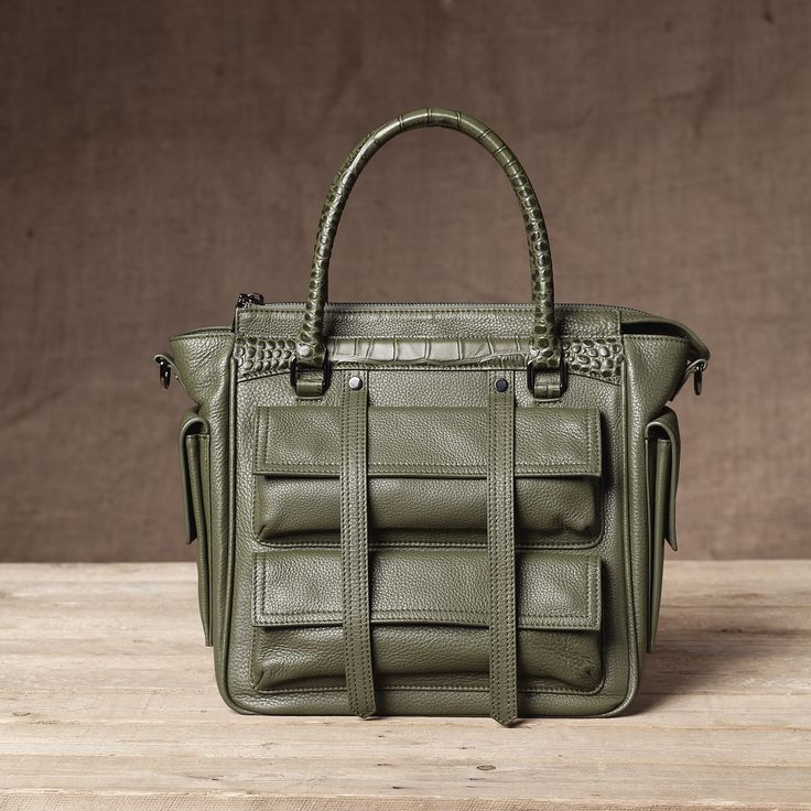 Eviot Tote in Dried Herb - Front View #Tote #Handbag #FW15  #Leather #Pebbled
