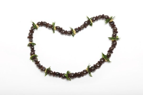Brown Kukui Nuts Lei with Shells and Hawaiian Foliage- for the popsy and papa