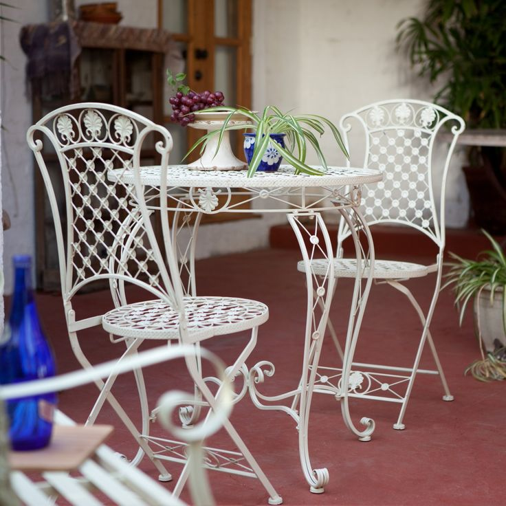 Small Bistro Table and Chairs wrought iron white | Wrought Iron Patio Furniture Sale