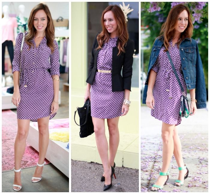 Sydne Style - Staples Series: Juicy Couture Printed Shirtdress worn three different ways