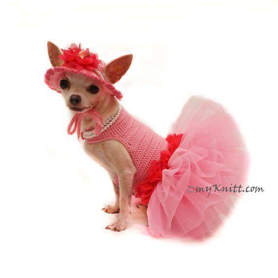 Pink Dog Tutu With Sun Dog Hat Crochet Chihuahua Dress Tutu