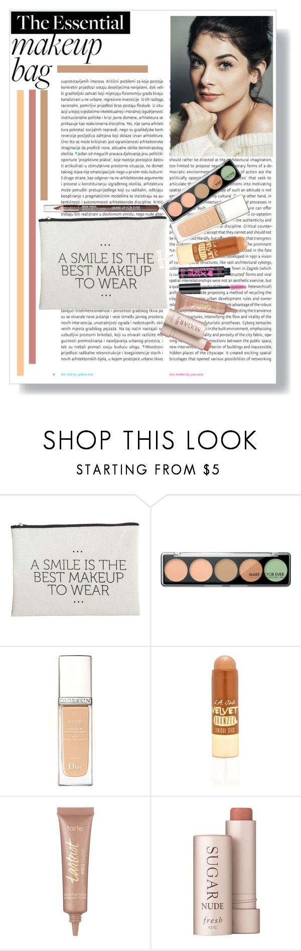 """""""Makeup Bag: The Bare Essentials"""" by musicislife-983 on Polyvore featuring beauty, Oris, House Doctor, MAKE UP FOR EVER, Christian Dior, L.A. Girl, tarte and Fresh"""