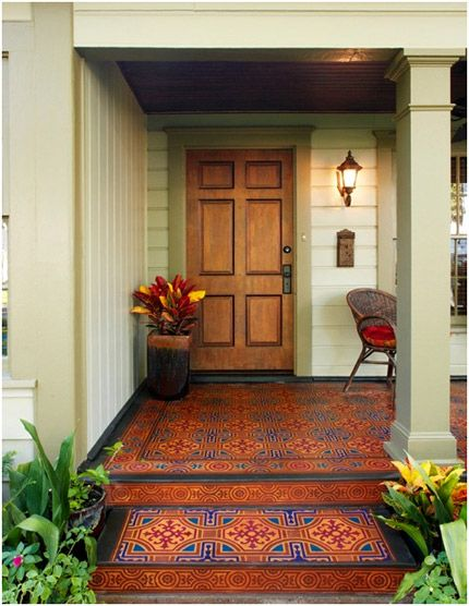 Here it is a Painted Concrete Porch Floor. With out getting that detailed, imagine a detailed rug on a solid color painted front deck area. Beautiful