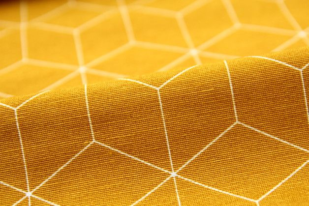 Stoff grafische Muster - Grafisches Muster, senf, Dekostoffe, Meterware - ein Designerstück von kidstixx-Stoffe bei DaWanda