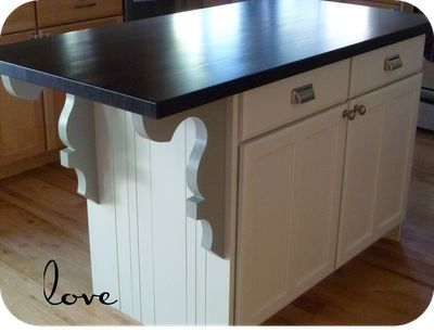 Custom cut brackets to support overhang.  LOVe it!: Redone Kitchens Cabinets, Kitchens Inspiration, Diy Kitchen, Cabinets Spaces, Houses Ideas, Kitchens Islands Makeovers, Islands Re Do, Bathroom Cabinets, Islands Redo