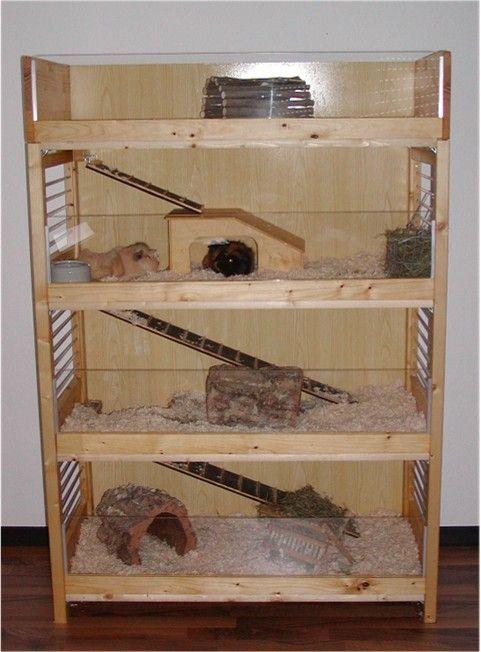 Fertiger Meerschweinchen Eigenbau aus einem Holzregal