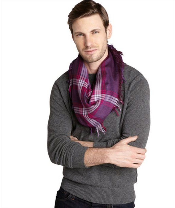$303, Purple Scarf: Gucci Purple Striped Cotton Silk Blend Scarf. Sold by Bluefly. Click for more info: http://lookastic.com/men/shop_items/92728/redirect