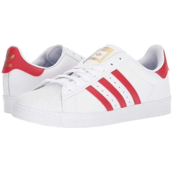 adidas Skateboarding Superstar Vulc ADV (Footwear White/Scarlet/Gold... ($80) ❤ liked on Polyvore featuring shoes, athletic shoes, white skate shoes, skate shoes, striped shoes, breathable shoes and white shoes
