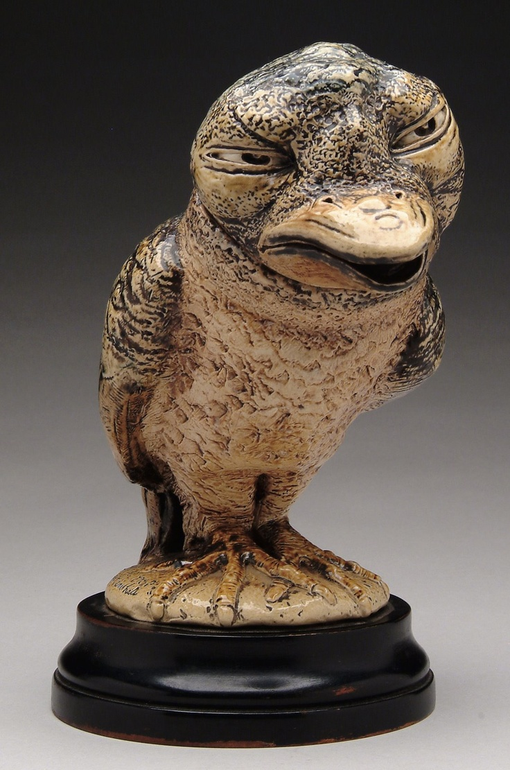 Martin Brothers Pottery - Wally Bird Covered Tobacco Jar. Painted & Glazed Stoneware. Southall, Middlesex, England. Circa 1890.