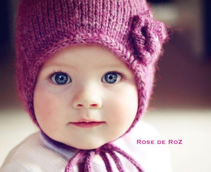 Béguin Retro-vintage framboise en tricot pour petite fille : Mode Bébé par rose-de-roz