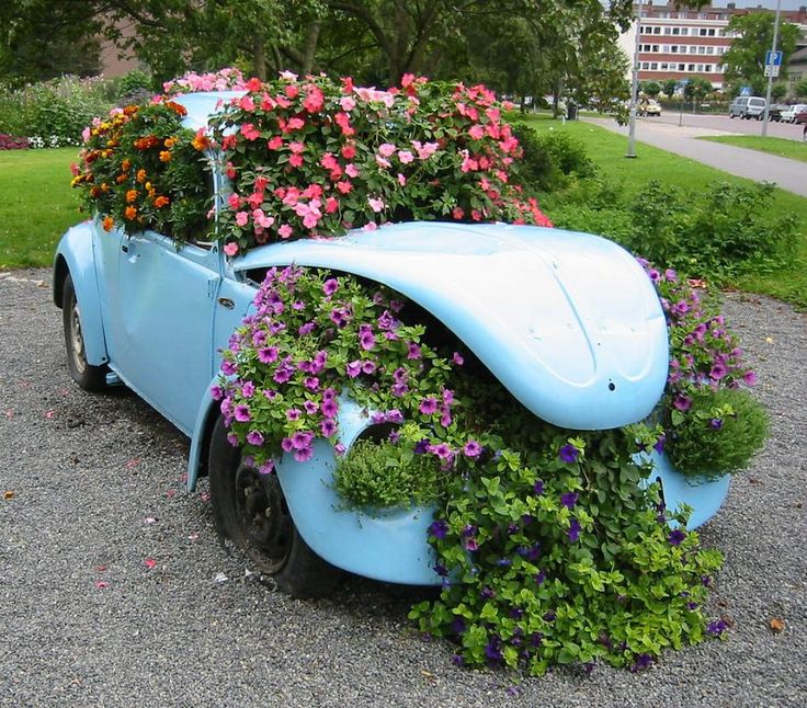 VW Beetle used as a flower pot