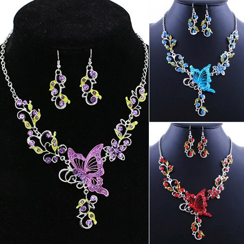Splendid Butterfly Flower Rhinestone Pendant Bib Statement Necklace Earrings Jewelry Set for Gift