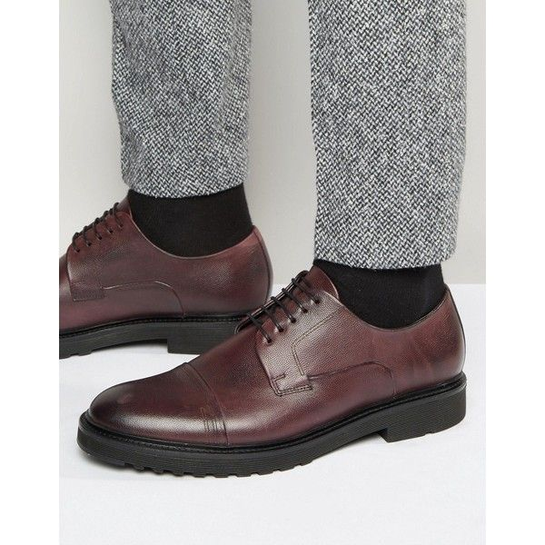 HUGO by Hugo Boss Durb Derby Shoes (7107105 BYR) ❤ liked on Polyvore featuring men's fashion, men's shoes, men's dress shoes, red, mens cap toe shoes, mens lace up shoes, mens red shoes, mens derby shoes and mens leather shoes